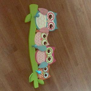Owl wall hanger for girls room